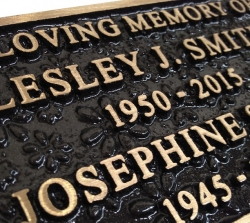 Cast Bronze Nameplate, Flower Texture