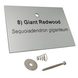 Engraved Silver Aluminium Tree Label
