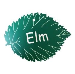 Engraved Elm Leaf Label