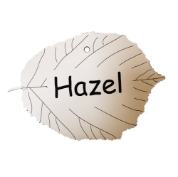 Engraved Hazel Tree Leaf Label