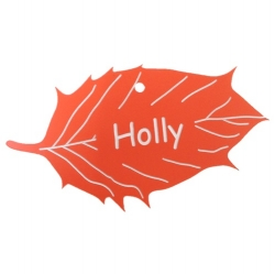 Engraved Holly Leaf Label