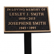 Cast Bronze Textured Memorial Plaque with Stake