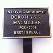 Cast Bronze Memorial Plaque with Stake