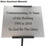 Silver Anodised Aluminium Commemorative Plaque