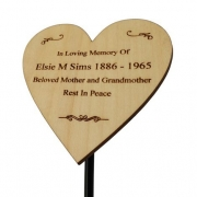 Wooden Heart-Shaped Memorial Plaque with Holder