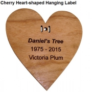 Engraved Heart-Shaped Cherry Hanging Label