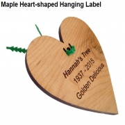 Engraved Heart-Shaped Maple Hanging Label with Tree Tie