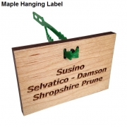 Engraved Maple Hanging Label with Adjustable Tree Tie