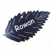 Engraved Rowan Leaf Label