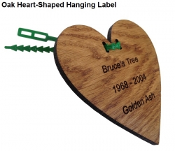Engraved Heart-Shaped Oak Hanging Label with Tree Tie